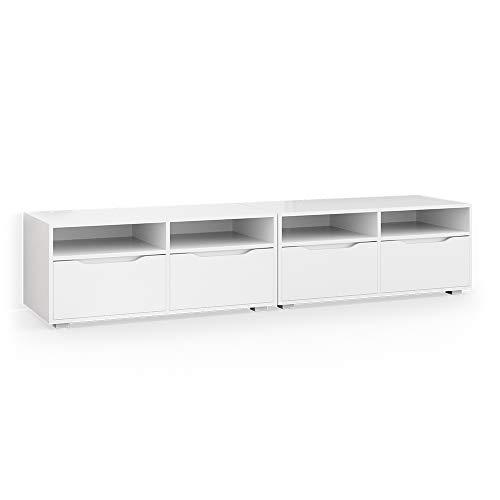 Vicco Lowboard Ruben weiß 200cm TV-Board Fernsehschrank TV-Schrank Regal Tisch