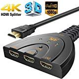 HDMI Switcher 4K,3 Port Switch with Pigtail HDMI Cable, Supports 4K, Full HD 1080p, 3D,for HDTV,PC,Projector,PS3,Xbox,STB,Blu-ray DVD Players,4k TV etc.