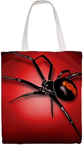 MODORSAN Bolso de hombro de araña negro Bolso de mano de lona, Bolsos de tela reutilizables para compras de comestibles, Bolsos de mano con impresión de doble cara