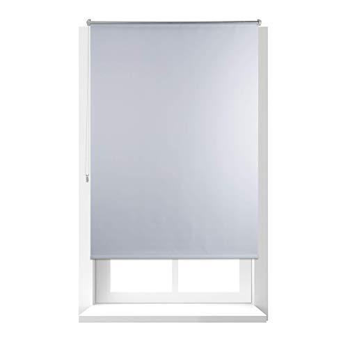 Relaxdays Estor Opaco Enrollable sin Taladrar, Tela-Aluminio, Ancho Tejido 106 cm, 110 x 160 cm, Blanco, 110 X 160