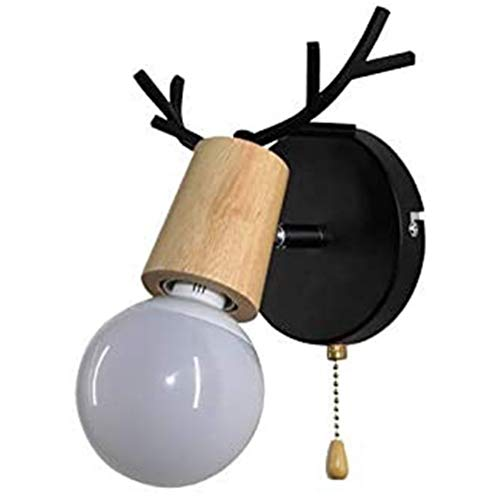 DINGYGJ Interruptor de pared creativa lámpara de pared de la cabecera de la lámpara de pared asta de luz simple moderna de madera base de la luz E27 tirón for el restaurante for niños Sala de estar do