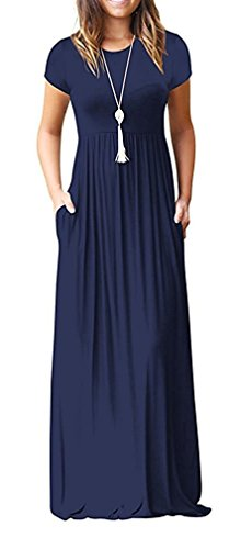 HAOMEILI Women's Short Sleeve Loose Plain Long Maxi Casual Dresses with Pockets M Navy Blue