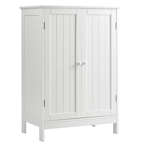 COSTWAY Badezimmerschrank Beistellschrank weiß, Kommode Sideboard mit Doppeltür und Verstellbarer Einlegeboden,Aufbewahrungsschrank Holz, Badschrank Küchenschrank für Badezimmer Küche Wohnzimmer