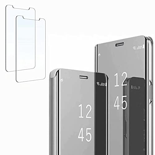 Ttianfa Funda para Samsung Note 5 Edge Funda Espejo Flip Tipo Libro,Hora Ver Inteligente Fecha Soporte Plegabl Protector Pantalla PU Caso Duro 360 a Prueba de choques Funda conNote 5 Edge,Plata