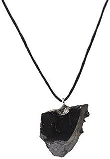 エリートシュンガイトペンダント自然クリスタル光沢灰色色、保証された本物のレア石。4倍効能、治癒石、チャクラ、霊気治癒、電磁場プロテクション - カレリアロシアから。