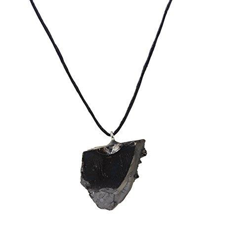 Heka Naturals Collar con Colgante de Shungita de Élite, Hecho de Mineral Shungit Noble de Brillo Plateado | el Colgante de Grado 1 Ayuda a Equilibrar la Energía | Élite