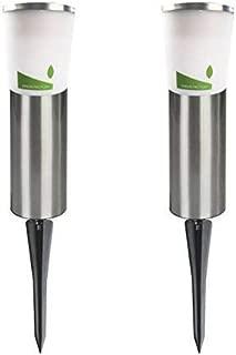 GREEN FACTORY Solar Post Lights(Set of 2), Stainless Steel Solar Pathway Lights, Coolwhite LED Solar Garden Lights