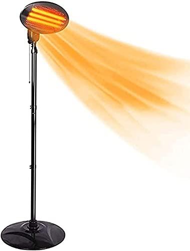 Calentadores de Patio Eléctricos Al Aire Libre,Calentador de Invernadero Independiente de Cuarzo Infrarrojo de 2kw Para El Hogar, Inclinación de Altura Ajustable, Resistente Al Agua, 3 Configuraciones de Calor Para Jardín