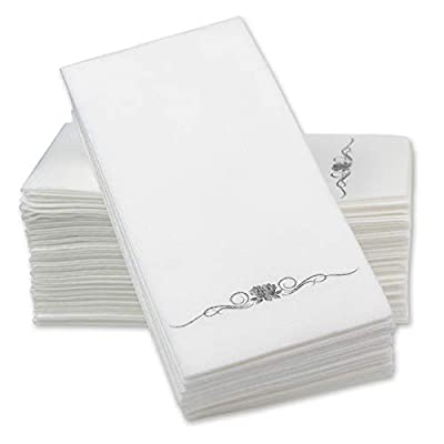 "12"" x 17"" Airlaid Paper Dinner Napkins – Silver Foil Stamped 1/6 Fold Disposable Guest Hand Towels with Absorbent, Linen-Like Feel Weddings, Receptions, Parties and Bathroom (Silver, 100 Count)"