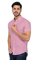 U-TURN Mens Cotton Solid Half Sleeve Shirt