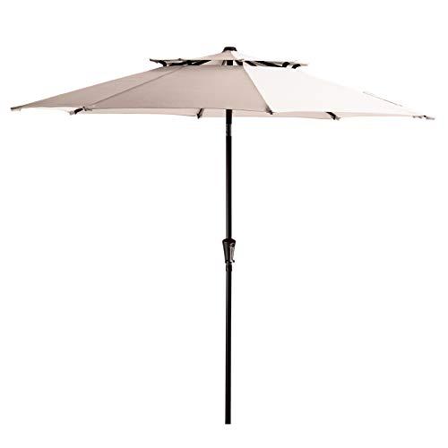 VOUA 2 Tiers 9' Patio Umbrella Outdoor Market Umbrella Table Umbrellas Sunbrella with 8 Ribs Push Button Tilt and Crank UV Protection Outside Garden Pool Umbrella, Beige