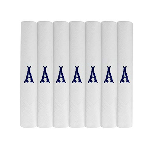 7 Pack Of Mens Initial Embroidered White Handkerchiefs With Satin Border, Various Letters (A)