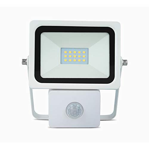 Forever LED Fluter 10W 800 Lumen Flutlicht Strahler EVO + PIR mit Bewegungsmelder Außenbeleuchtung Wasserdicht IP65 Kaltweiß 6000K Helle Sicherheitsbeleuchtung für Garten Hof Garage Lager etc.