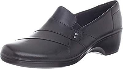 Clarks Women's May Marigold Slip-On Loafer, Black Leather, 8 W US