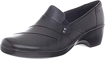 Clarks Women s May Marigold Slip-On Loafer Black Leather 10 M US