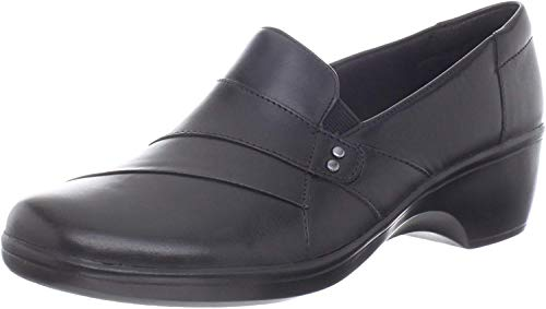 Clarks Women's May Marigold Slip-On Loafer, Black Leather, 7 W US