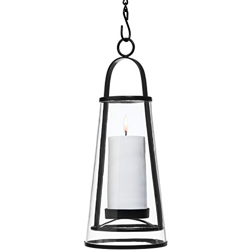 H Potter Hanging Lantern Decorative for Outdoor Patio or Indoor Candle Holder Metal and Glass Hurricane use for Wedding Party or Entertainment GAR544 Black