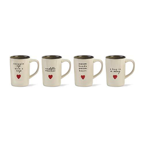 Cuddle Weather Glossy White 16 ounce Ceramic Stoneware Holiday Mugs Set of 4