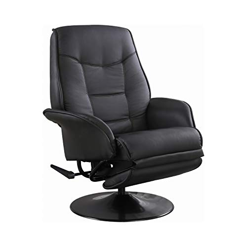 Berri Swivel Recliner with Flared Arms Black