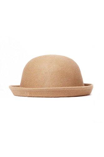TOOGOO Moda Vintage Mujeres Ala de la boveda Sombrero Rollo Ala Bombin Derbi de Sombrero Sombreros color canela claro