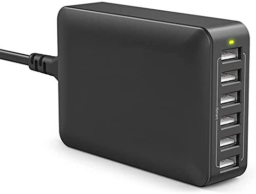 Caricatore da 60W / 12A con 6 Porte USB – Postazione di Ricarica da Tavolo con Tecnologia iSmart 2.0 (Indicatore LED Integrato – Protezioni da Surriscaldamento, Sovraccarico & Cortocircuito)