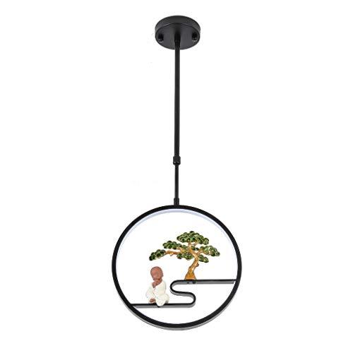 RTYU Araña De Arte Chino - Comedor Dormitorio Pared Pasillo Luces Decorativas Acogedoras Pino Pequeño Monje Zen (sin Fuente De Luz) (Color : Negro)