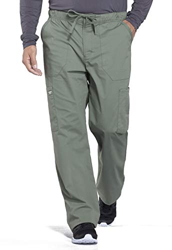 Cherokee Workwear Professionals Men's Tapered Leg Drawstring Cargo Scrub Pant, M Tall, Olive