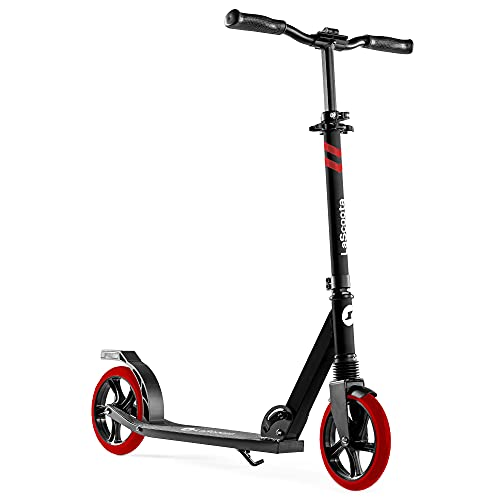 """Lascoota Scooters for Kids 8 Years and up - Quick-Release Folding System - Dual Suspension System + Scooter Shoulder Strap 7.9"""" Big Wheels Great Scooters for Adults and Teens (RED, Kids/Adults)"""