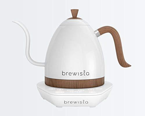 Brewista Artisan Pearl Weiß und weißer Sockel | Wasserkocher | Schwanenhalsauslauf | Temperaturregelung | Slow Coffee Barista | 1,0 L