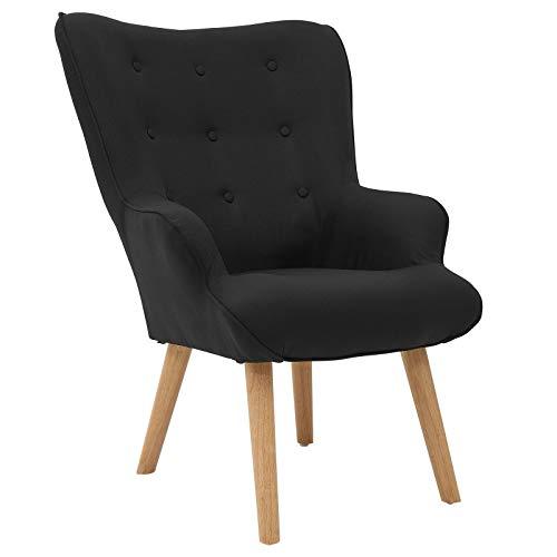 CARO-Möbel Ohrensessel Amsterdam im Retro Design, Ohrenbackensessel Fernsehsessel mit Stoffbezug in schwarz und Dekoknöpfen