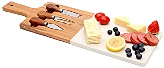 jalz jalz Serving Board Marble with Acacia Wood set Stainless Steel Knives,Meat Cheese Server and Cutting Board Perfect Gift for Mom