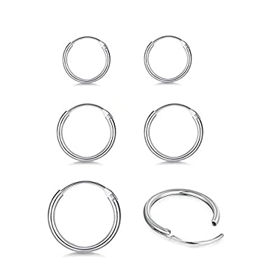 Silver Small Hoop Earrings for Women Men Girls, 3 Pairs Cartilage Earrings Set Hypoallergenic 925 Sterling Silver Endless Helix Tragus Earrings Nose Lip Rings (8mm, 10mm, 12mm)