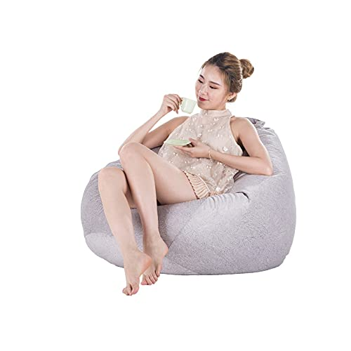 Geen vulmiddel zachte fluwelen bonenzak Cover Sofa Cama Thuis Woonkamer tumbona Beanbag Sofa Slaapkamer Lazy Puff asiento Bean Bag Stoel - Elegant Grijs XL
