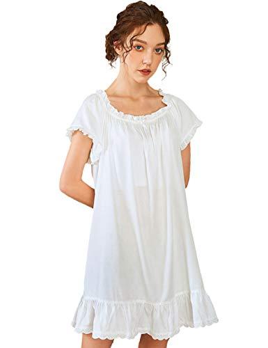 Nanxson Damen Baumwolle Nachthemd Vintage Viktorianisch Nachtwäsche Kurzarm Nachtkleid (M, Weiß)