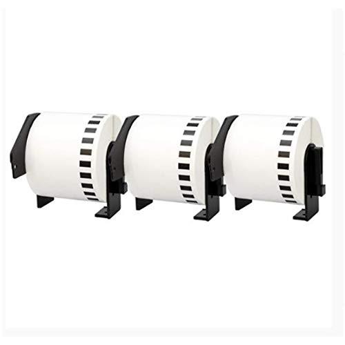 Monland 3 rollos compatibles para DK22205 62 mm x 30,48 m Etiquetas en cinta de papel de longitud continua blanca con cartucho recargable