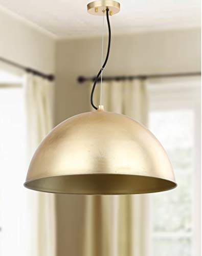 "Safavieh PND4005A Collection Archer Dome 21"" Adjustable Pendant Light, Gold Leaf"