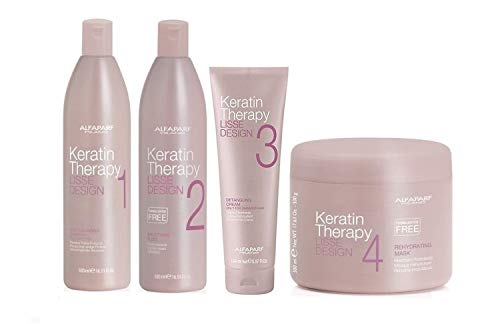 ALFAPARF Lisse Design Keratin Therapy Trattamento Lisciante Completo Deep Shampoo 500ml + Smoothing Fluid 500ml + Detangling Cream 150ml + Mask 500ml