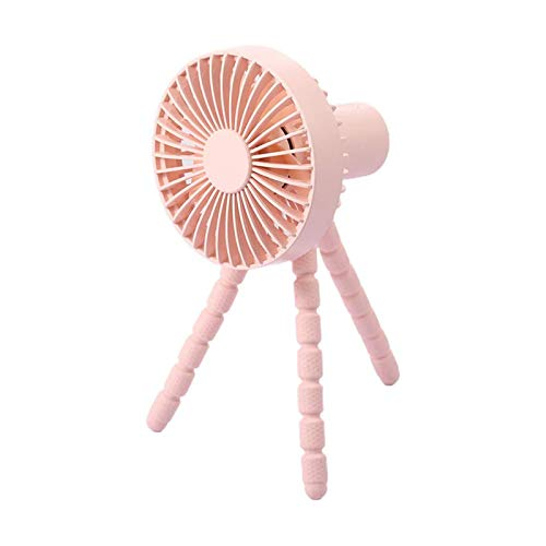 HZWZ Creative Stand Fan New Small Fan Rechargeable Desktop Outdoor Stroller Shopping Cart Handheld Mini Portable Mobile Phone Stand,Pink