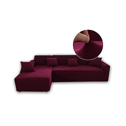 Moderna funda elástica elástica para sofá de sala de estar en forma de L, fundas ajustables para sofá de esquina, forro polar, color rojo y rojo