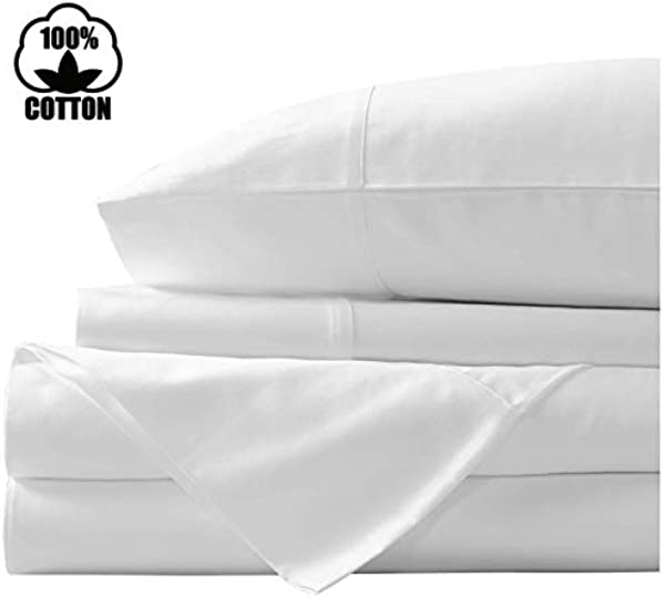 Nish Joe 100 Cotton Bed Sheet 400 Thread Count Extra Long Staple Luxurious Sateen Weave 4 Pc King Sheet Set Fits Mattress Upto 15 Fit Deep Pockets Fade Stain Resistant King White