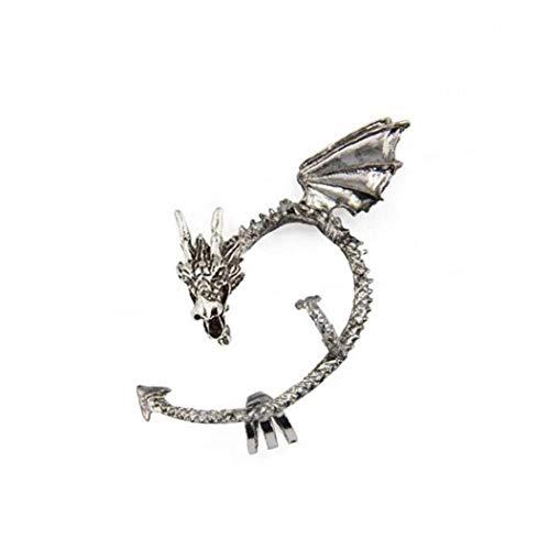 linjunddd 1pc Juego De Tronos Manguito del Oído del Dragón del Pendiente del Abrigo Gótico Punky del Estilo del Metal De La Vendimia del Clip del Oído De Plata -Antique