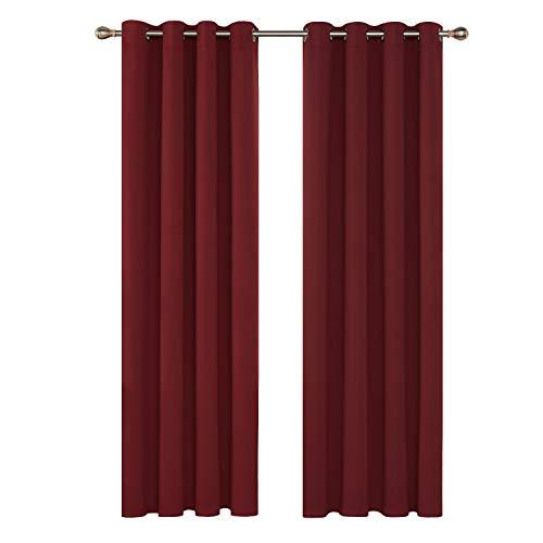 Deconovo Tende Oscuranti Termiche Isolanti Moderne con Occhielli per Porta Finestra Interni 140x260cm Rosso Scuro 2 Pannelli