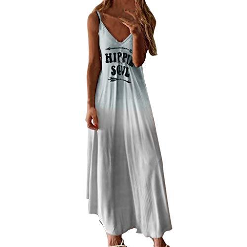 Damen Freizeitkleid Cocktailkleid,2019 neu Kleider Abendkleid Shirtkleid Ärmelloses elastisches Kleid mit großem Farbverlauf color Langes Kleid Maxikleid S-5XL
