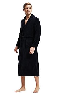 Men's Fleece Bathrobe Long Shawl Collar Plush Robe
