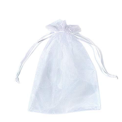 PLECUPE 100 Pcs 30x40cm Bolsas Bolsitas de Organza, Organza de Bodas Regalo de la Joyeria de Caramelo Bolsa - Blanco