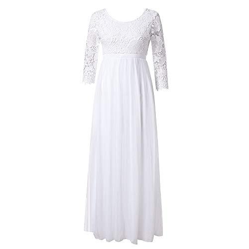 QingJiu Frauen Chiffon Brautjungfer Lange Maxi Abendkleid Abendkleid Spitze langes Kleid