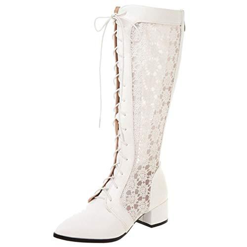 Lydee Damen Mode Mitte Absatz Sommerstiefel Schuhe Schnüren Knee Hohe Sandalen Atmungsaktiv Spitze Gladiator Schuhe White Gr 43