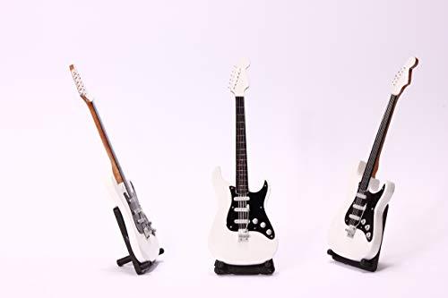Miniatur E-Gitarre normal in versch. Farben Elektro Mini Deko Gitarre aus Holz 24cm (Farbe wählbar) (weiß)