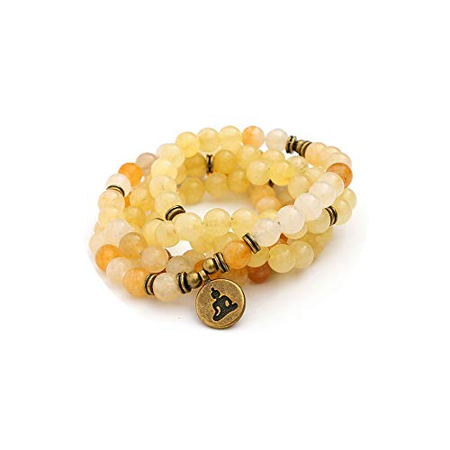 TYGJB Moda Mujer `s de Piedra Natural Cuentas de Pulsera de Jade Amarillo con Lotus Charm Yoga Pulsera 108 Mala Collar (Amarillo Claro)
