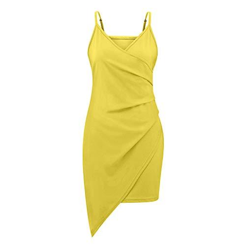 TOTAMALA Vestido de verano para mujer, vestido de cóctel, noche, hombros descubiertos, cintura alta, con correa de tenedor, apertura de horquilla (S/2XL), Amarillo, XL